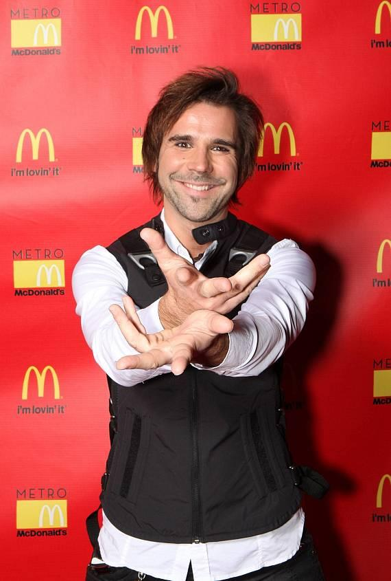Magician Jan Rouven on red carpet at Metro McDonald's in Las Vegas