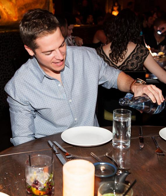 Jason Kennedy pours Whole World water at TAO