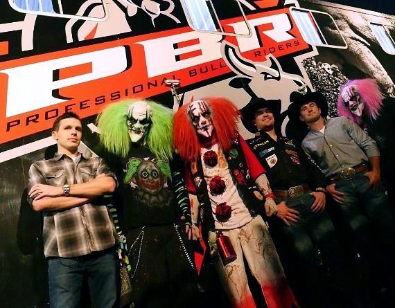 Jason Egan, Matt Triplett and Cody Ford with scary clowns at The Fright Dome