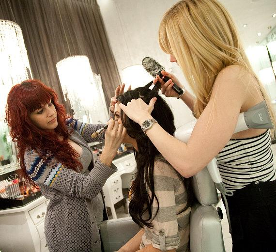 Jayde Nicole gets pampered by a hair stylist and make-up artist at COLOR: A Salon by Michael Boychuck