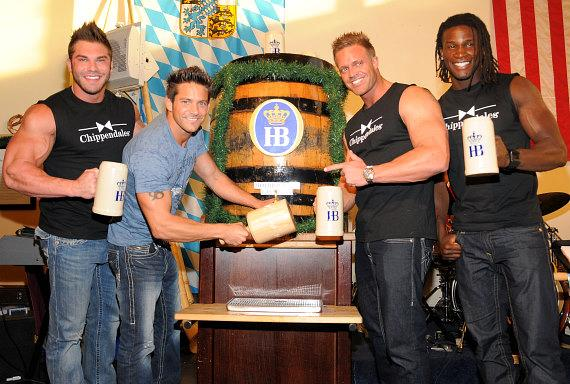 Chippendales dancers with Jeff Timmons at Hofbräuhaus Las Vegas