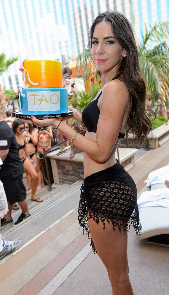Jen Selter with Birthday Cake at TAO Beach