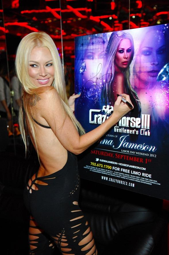 Jenna Jameson signing posters for fans inside Crazy Horse III