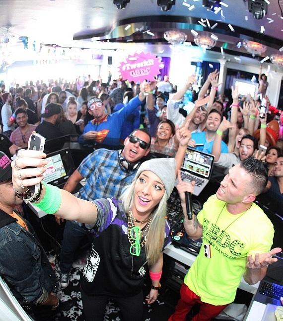 Jenna Marbles takes a selfie with partygoers at Ghostbar Dayclub season opener