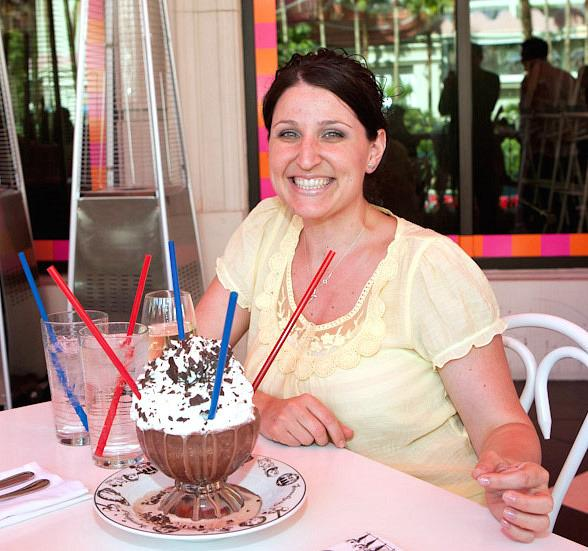 Jennifer Genovese with 100,000th Frrrozen Hot Chocolate