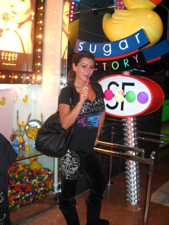 Jennifer 'JWoww' Farley shops for sweets at Sugar Factory at The Mirage Resort & Casino
