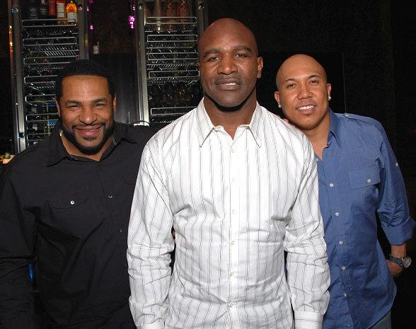Jerome Bettis, Evander Holyfield and Hines Ward dine at Eva Longorias Beso Steakhouse in Crystals CityCenter Las Vegas