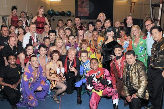 Jerry Springer with cast of Viva ELVIS by Cirque du Soleil in Las Vegas