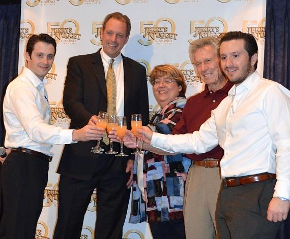 """Director and Vice President of Jerry's Nugget Casino Joseph Stamis, North Las Vegas Mayor John Lee, North Las Vegas Mayor Pro Tem Anita G. Wood, Founder and General Manager of Jerry's Nugget Casino, Angelo Stamis, and President and Director of Jerry's Nugget Casino, Jeremy Stamis, toast with a celebratory punch during the proclamation of """"Jerry's Nugget Day"""" on Wednesday, January 15."""