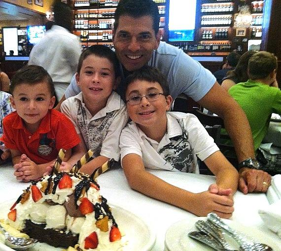 Jersey Boys Las Vegas actor Joe Barbara and his three  sons at Carmine's Las Vegas