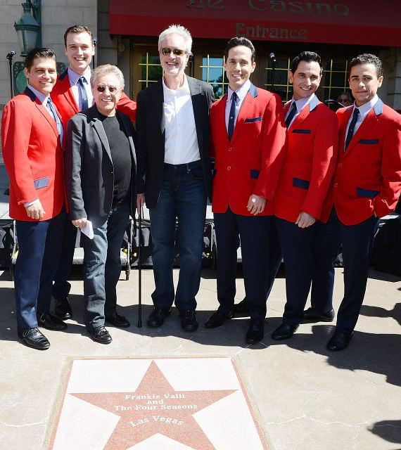 Jersey Boys cast with Frankie Valli  and Bob Gaudio