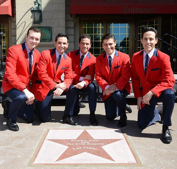 Jersey Boys cast with the Frankie Valli and The Fours Seasons star