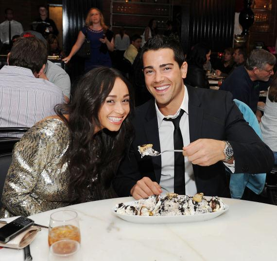 Jesse Metcalfe and fiancée Cara Santana indulge in a Cookie Jar ice cream sundae at Sugar Factory American Brasserie at Paris Las Vegas