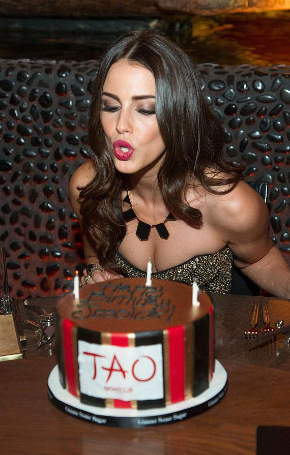 Jessica Lowndes blows out candles at TAO