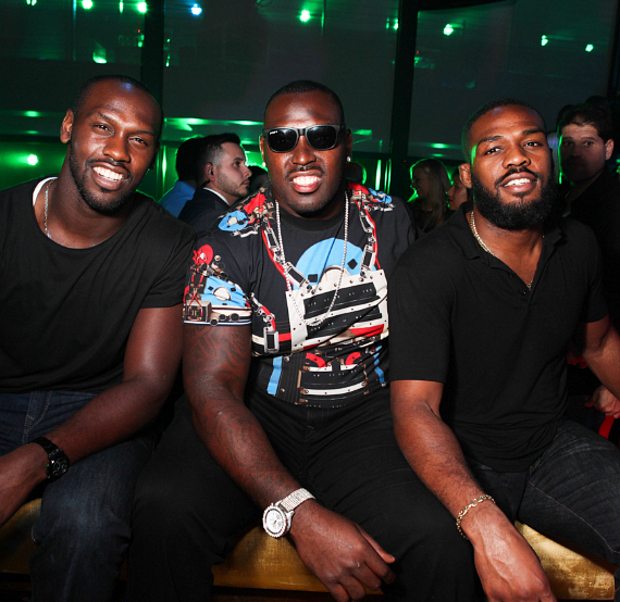 "Jon ""Bones"" Jones  at HAZE nightclub with brothers NFL player Arthur Jones and Chandler Jones"