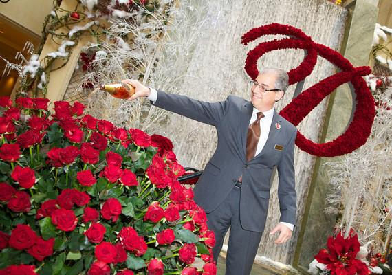 John Caparella, president and chief operating officer of The Palazzo, The Venetian, and Sands Expo, christens The Palazzo Rose