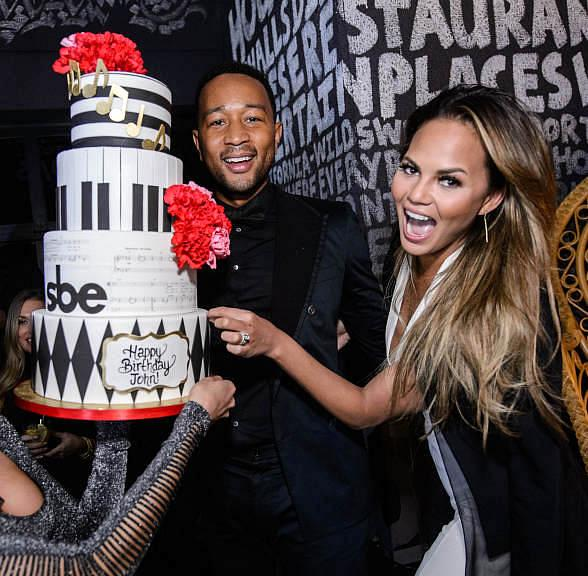 John Legend Celebrates Birthday with wife Chrissy Teigen at Foxtail Nightclub inside SLS Las Vegas