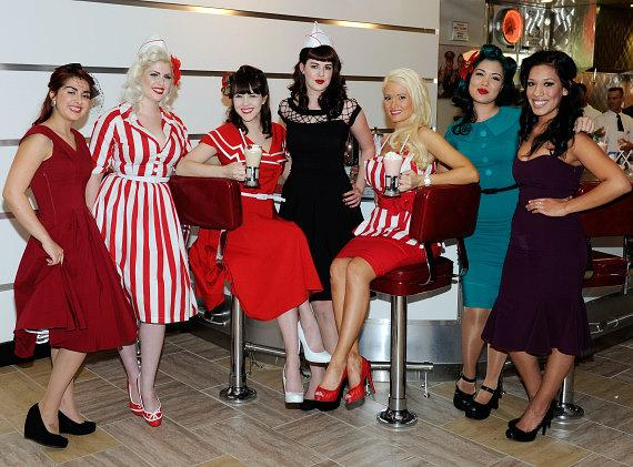 Betty Page models Carla Avila, Doris Mayday, Claire Sinclair, Molly Kaiser, TV star Holly Madison, models Crystal Taylor and Alex Garcia