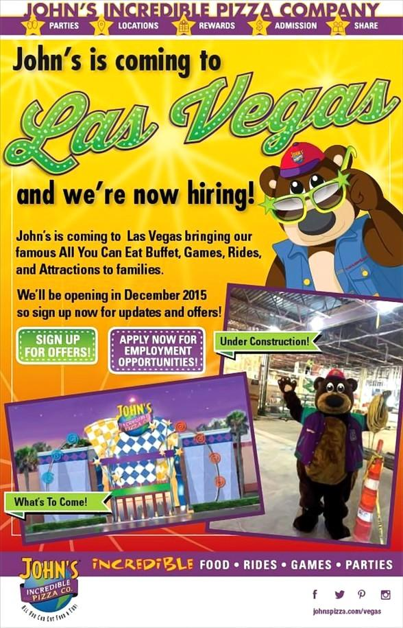 John's Incredible Pizza Company Seeking Fun and Energetic People for New Las Vegas Location