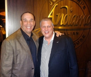 """Bar Rescue"" star Jon Taffer dines at Andiamo Italian Steakhouse at the D Las Vegas with owner Derek Stevens"