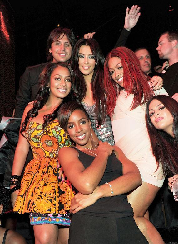 Kim Kardashian with Jonathan Cheban, La La Vazquez, Trina, Kelly Rowland,  