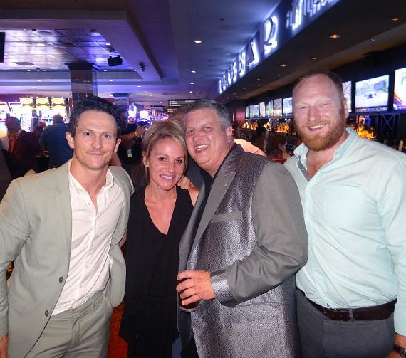 """Kingdom"" actors Jonathan Tucker and Mac Brandt with the D Owner Derek Stevens and his wife Nicole Parthum at the World Famous LONGBAR"