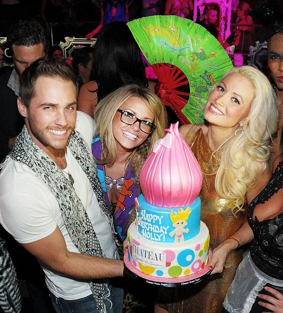 Holly Madison and good friends, Josh Strickland and Angel Porrino, with her birthday cake