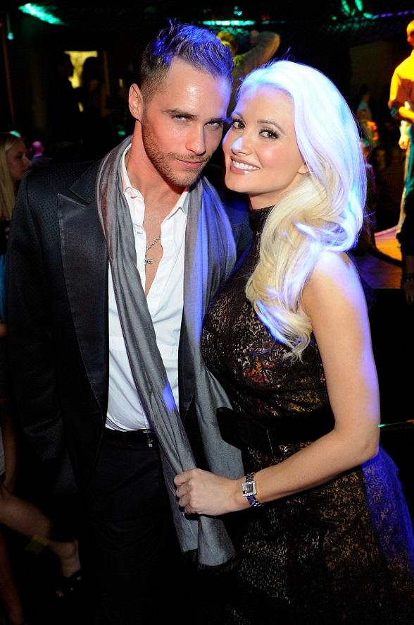 "Holly Madison poses with ""Peepshow"" costar and best friend, Josh Strickland, at Gallery Nightclub"