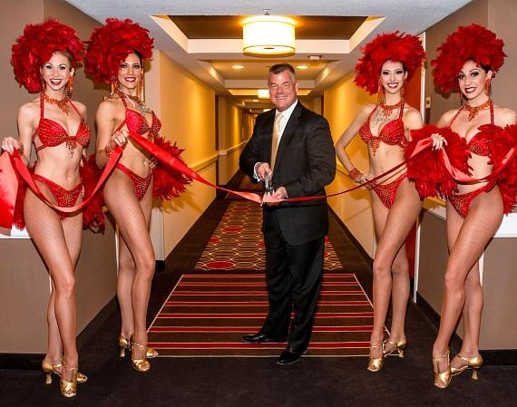 Regional President David Hoenemeyer and Jubilee! showgirls officially open the all-new Bally's Las Vegas Jubilee Tower