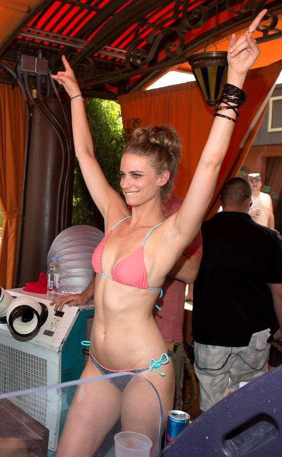 Julie Henderson in DJ booth at TAO Beach