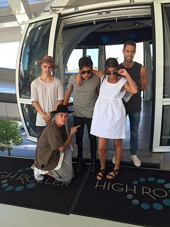 Singer Justin Bieber rides the High Roller at The LINQ Promenade in Las Vegas