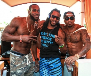 Brody Jenner, Ryan Serhant, Seahawks Richard Sherman and Kam Chancellor at TAO Beach