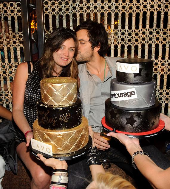 Kat and Rhys Coiro with cakes at LAVO