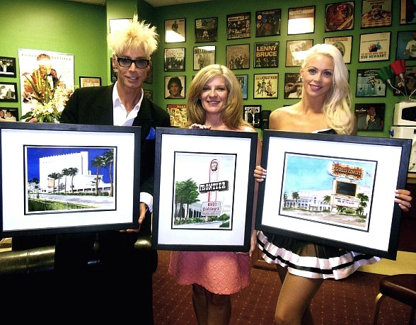 Murray and Chloe with artist Kathy I. Heintz (C) at The Tropicana Las Vegas
