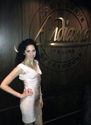 Singer Katrina Woolverton dines at Andiamo Italian Steakhouse at the D Las Vegas