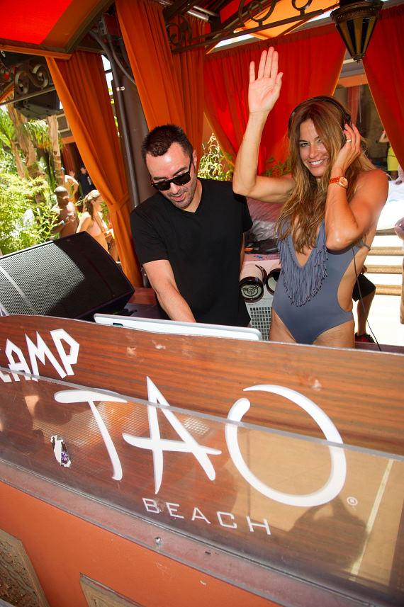 Kelly Bensimon with DJ Lema at TAO Beach