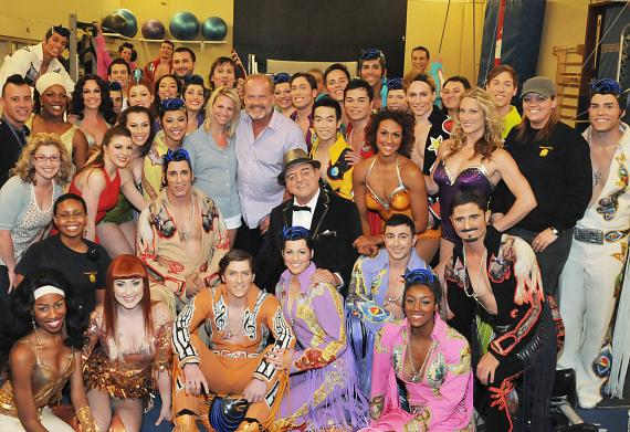 Kelsey, Kayte and cast of Viva ELVIS by Cirque du Soleil at ARIA Resort & Casino