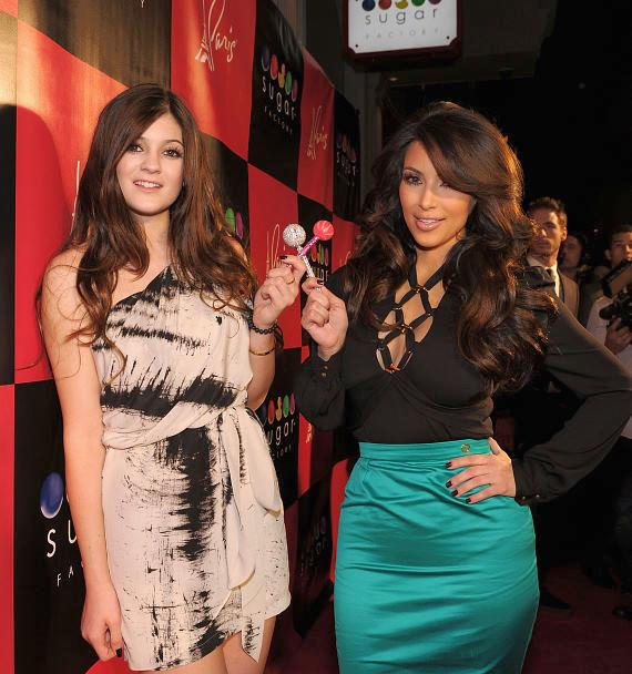 Kim Kardashian and Kylie Jenner on the red carpet at Sugar Factory