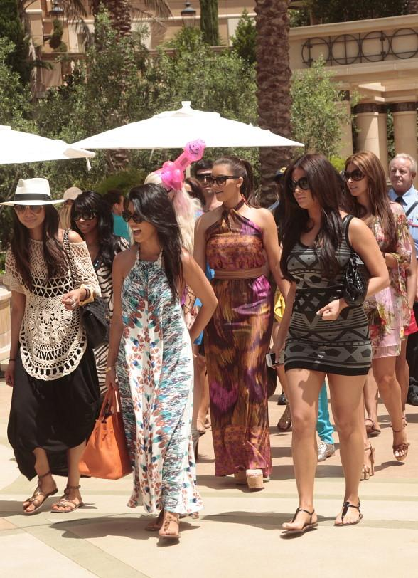 Kim Kardashian with family and friends at Palazzo Pool