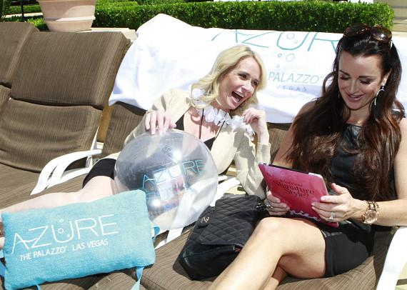Kim and Kyle relax at Azure Luxury Pool at The Palazzo