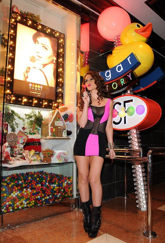 Kimberly Cole at Sugar Factory Entrance