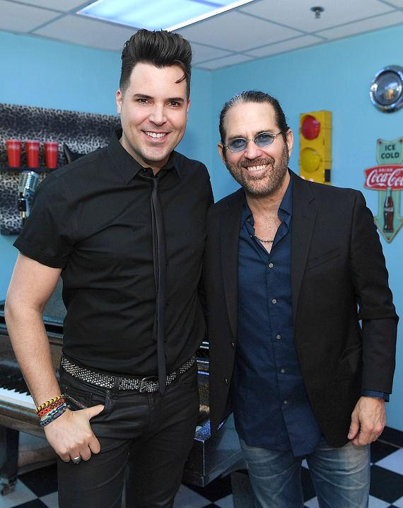 """Frankie Moreno and Kip Winger backstage at """"Frankie Moreno - Under the Influence"""" at Planet Hollywood Resort & Casino"""