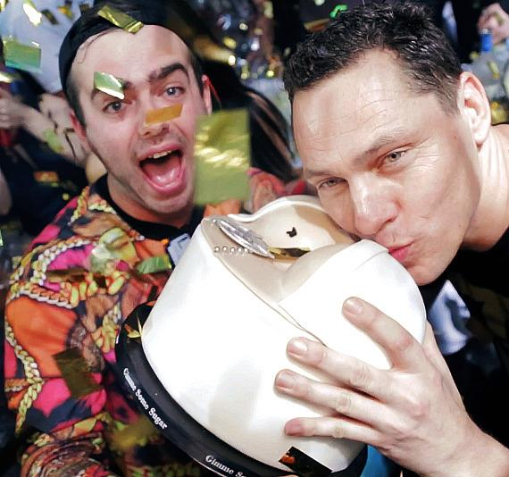 Kirill and Tiesto with Birthday Cake