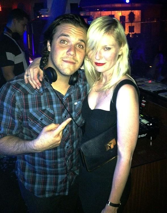 Kirsten Dunst and DJ DiJiTAL in Hyde Bellagio's DJ booth