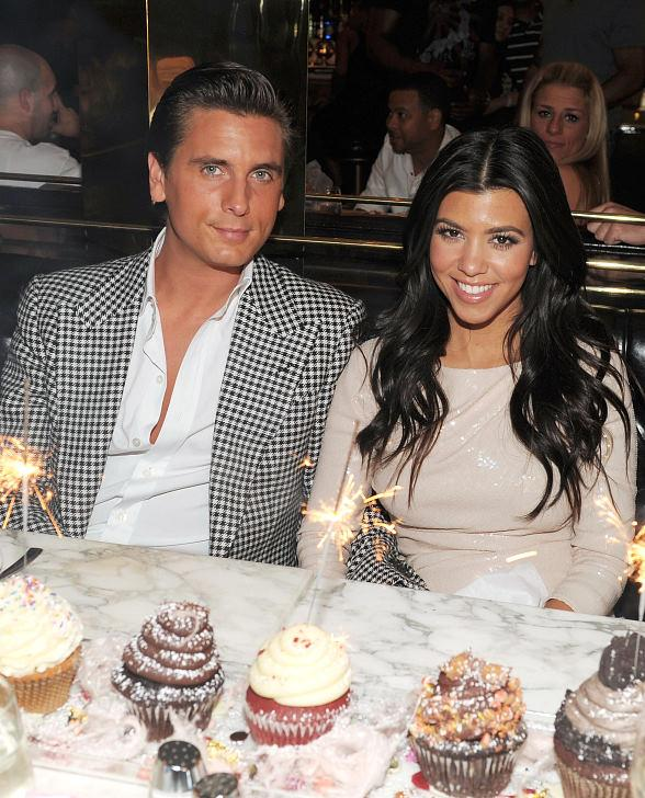 Kourtney Kardashian and Scott Disick with cupcakes at Sugar Factory American Brasserie at Paris Las Vegas