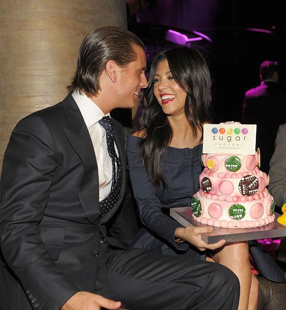 Kourtney and Scott with birthday cake