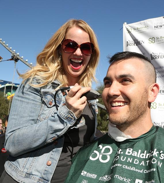 Kristen Hertzenberg of Million Dollar Quartet is all smiles while head-shaving at New York-New York's St. Baldrick's Day on March 7