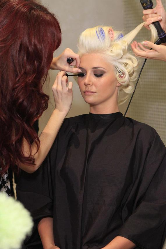 Kristina Shannon getting her hair and make-up done at COLOR: A Salon by Michael Boychuck at Caesars Palace in Las Vegas