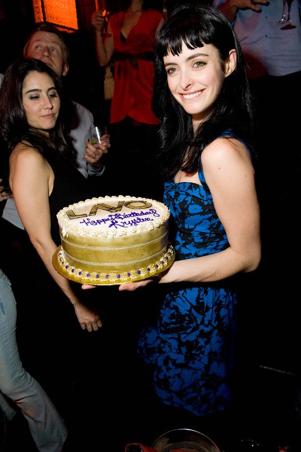 Krysten Ritter with cake at LAVO