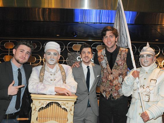 Kyle Kaplan, Christopher Mintz-Plasse and Nicholas Braun with Zarkana cast members